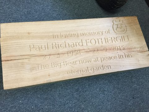 Photo of cnc engraved Plaque