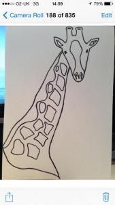 Hand drawn sketch of a giraffe